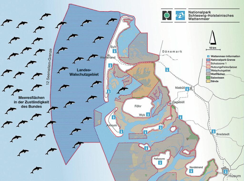 Diese Karte zeigt die Ausdehnung der Walschutzgebiete um die Nordfriesischen Inseln